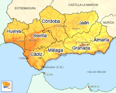 Carte Region Andalousie.Offres De Location Saisonniere 16 Personnes En Andalousie